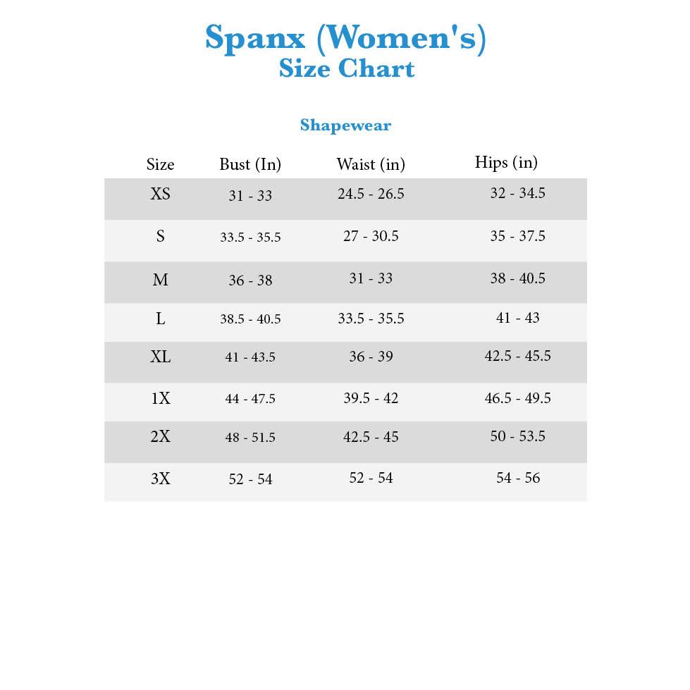 Spanx Shapewear Size Chart