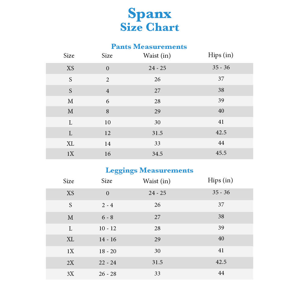 Spanx Pants And Leggings Size Chart