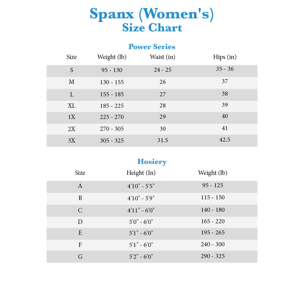 Spanx Series And Hosiery Size Chart