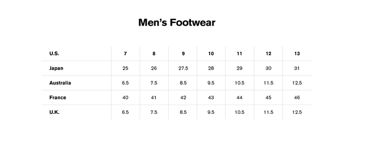 International shoe size conversion chart mens.