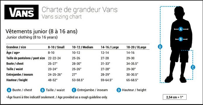 Vans Kids Arel Size Chart
