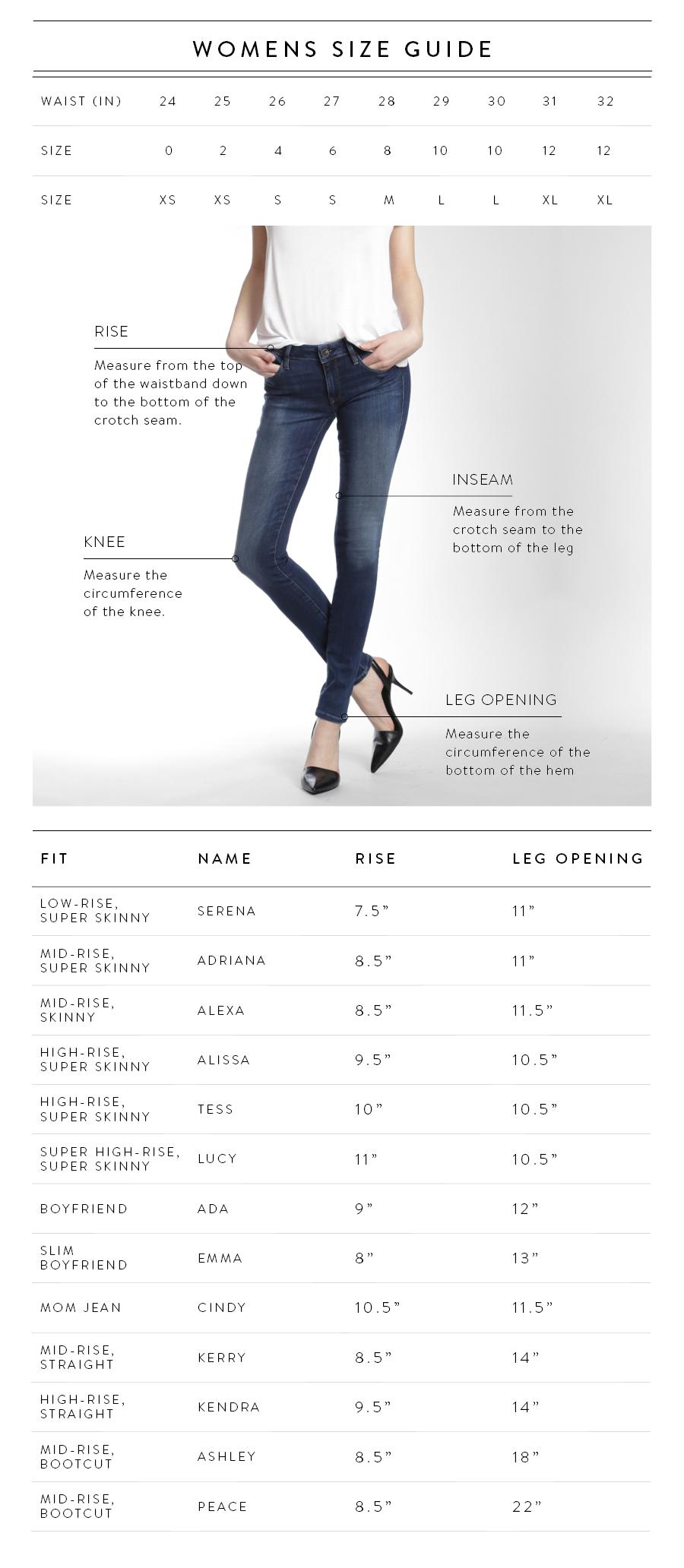 ... mavi Women's Size Chart