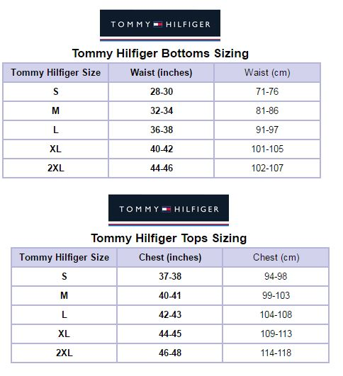 Tommy Hilfiger Size Guide Shoes