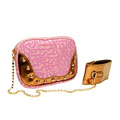 Fetish by Eve Handbags - Signature Shield Logo Chain Pouch w/Rhinestone Chain (Pink)