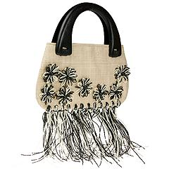 Inge Sport Handbags - Flowers on Raffia Mat Top Handle (Black)