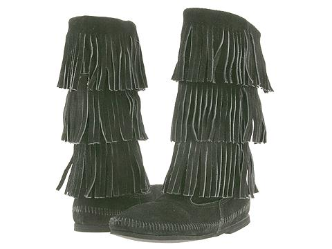 Minnetonka - Calf Hi 3-Layer Fringe Boot (Black Suede) - Footwear