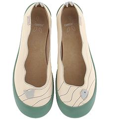 Camper Twins-20042 (White Leather) - Skimmer/Ballerina Casual Flats