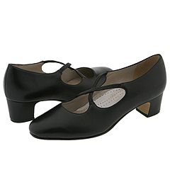 Trotters - Jamie Black Leather Womens 1-2 inch heel Shoes $93.00 AT vintagedancer.com