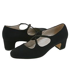 Trotters - Jamie Black Microfiber Womens 1-2 inch heel Shoes $93.00 AT vintagedancer.com
