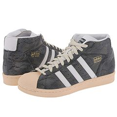 adidas Originals Pro Model Vintage (Black/White/Metalic Gold/Snake) - Hoops from zappos.com