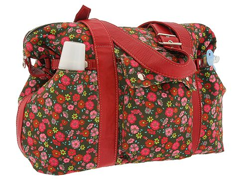 Not Rational Handbags Diaper Bag Canvas (Flower Print Canvas/Red Straps) - Tote from zappos.com