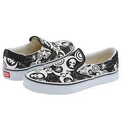 Vans Kids Classic Slip-On™ (Youth/Adult) ((Dreamskulls) Black/White) - Skate Shoes :  dreamskulls shoes on slip