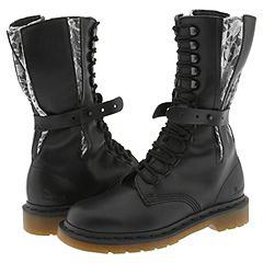 Dr. Martens - Mods Lace 14 Eye Boots (Black/White Malibu Lace)