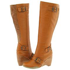 Fitzwell Fallara Wide Calf Tan Leather High Heel Casual Boots ...