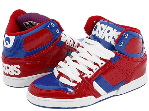 Osiris - Bronx (Red/Blue/White) - Footwear: Action leather high top upper.