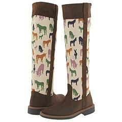 Camper Twins-45914 (Brown Leather - Cream canvas w/Donkey Images) - Boots :  camper donkey