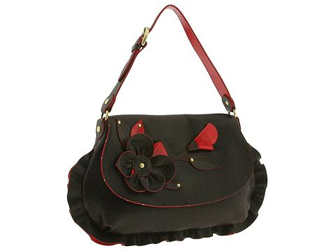 Moschino Shoulder Bag With Flower And Ruffle Brown - Bags and Luggage