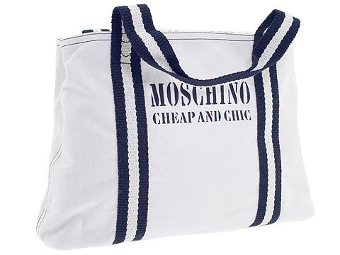 Moschino B7557 Cotton Tote White/Blue Cotton 2002 - Bags and Luggage