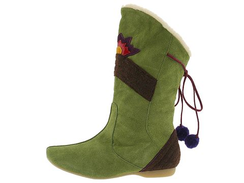 Killah Bloemen (Green) Boots :  tassels pom-poms women green