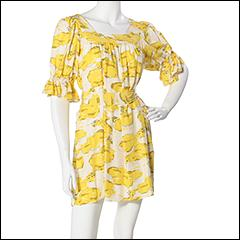 Betsey Johnson Puffin Clouds Matte Silk Tunic (Yellow) - Short Sleeve :  spring tunic cute print