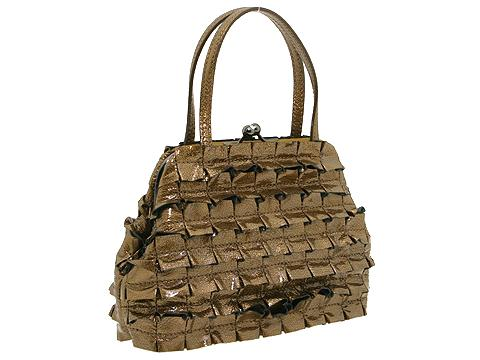 Moschino Metallic Ruffle Handbag Gold - Bags and Luggage
