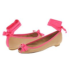 Pink and Khaki Peep-Toe Ballet Flats from Hollywould     Manolo Likes!  Click!