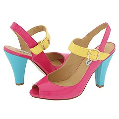 Steve Madden Tinah (Bright Multi) - Opentoe/Peeptoe Dress Shoes :  blue pink peep toe shoes