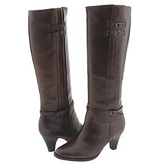 Frye Tina Tall Pleat (Dark Brown) :  fryes buckle boots brown