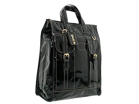 D&G Dolce & Gabbana Patent Vinyl Tote With Detachable Shoulder Strap Black - Bags and Luggage