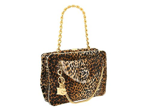 D&G Dolce & Gabbana Ocelot Print Pony Hair Frame Clutch With Detachable Evening Bag Ocelot/Gold - Bags and Luggage