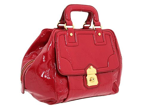 D&G Dolce & Gabbana Large Patent Vinyl Lock Closure Handbag Cherry Patent - Bags and Luggage