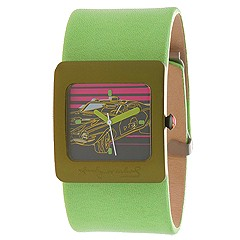 Andy Warhol 15 Watch Collection - Police Car (Car Dial/Lime Green Strap) - Jewelry