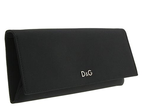 D&G Dolce & Gabbana Satin Pouchette With Shoulder Chain Black Satin - Bags and Luggage