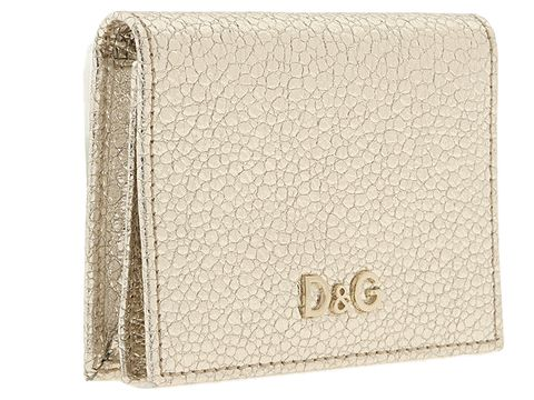 D&G Dolce & Gabbana Metallic Explosion Leather Wallet Gold - Bags and Luggage