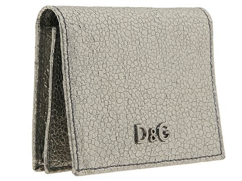 D&G Dolce & Gabbana Metallic Explosion Leather Wallet Steel - Bags and Luggage