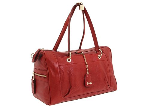 D&G Dolce & Gabbana Large Textured Sylvie Satchel With Lock Strawberry - Bags and Luggage