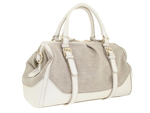 D&G Dolce & Gabbana Medium Suzanne Linen Satchel White - Bags and Luggage