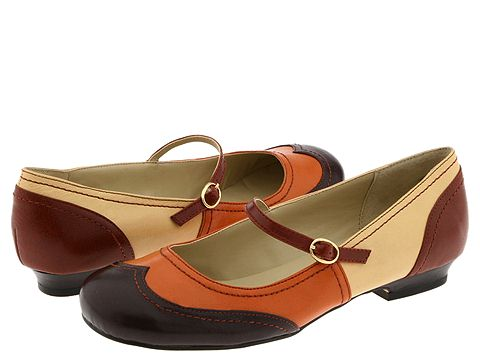 dollhouse Vangogh color blocked brown mary janes