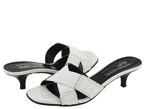 Donald J Pliner - Kiki (White Basic Elastic/White Antique Gator Patent) - Women's