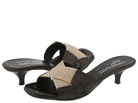 Donald J Pliner - Kiki (Virgin Basic Elastic/Walnut Antique Gator Patent) - Women's