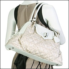Moschino - Jacquard Trapuntato Shoulder Bag (White Beige) - Bags and Luggage