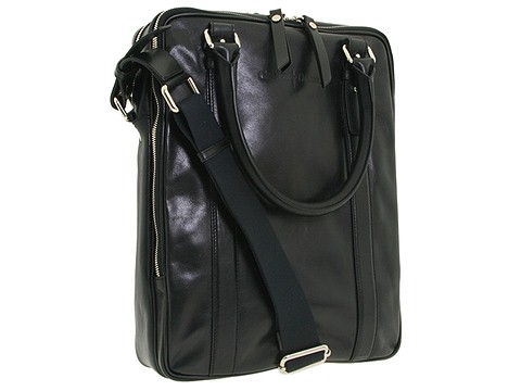 Cesare Paciotti - Vertical North/South Bag-1993 (Black Calf) - Bags and Luggage