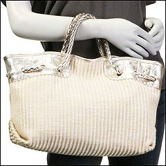 Furla Handbags - Carmen Straw Medium Shopper MC (White Cotton-Ivory) - Bags and Luggage