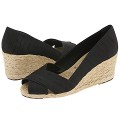 Shop LAUREN by Ralph Lauren online and buy LAUREN by Ralph Lauren Cecilia Black Shantung Womens Wedge Shoes online