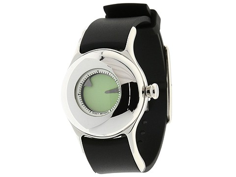 Issey Miyake Ovo Black Polyurethane Strap/Stainless Steel Case/Green Dial - Jewelry