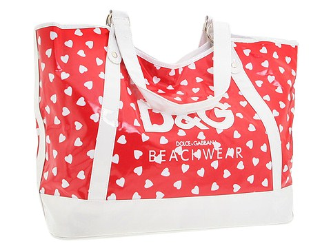 D&G Dolce & Gabbana Beach Tote Bag Cherry Hearts - Bags and Luggage
