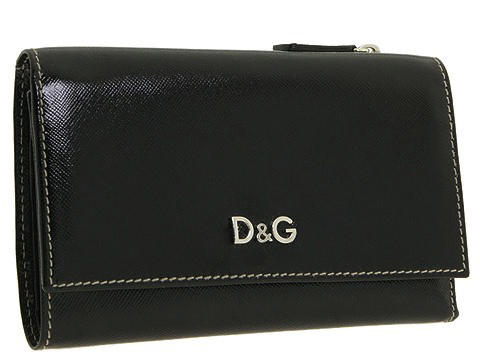 D&G Dolce & Gabbana Carolina Medium Bi-Fold Textured Patent Wallet Black - Bags and Luggage