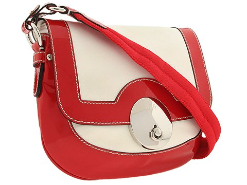 D&G Dolce & Gabbana Molly Nappa And Patent Medium Messenger Bag Red/White - Bags and Luggage