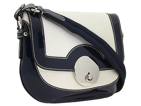 D&G Dolce & Gabbana Molly Nappa And Patent Medium Messenger Bag Blue/White - Bags and Luggage