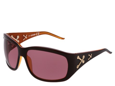 Just Cavalli JC140S Brown/White/Orange/Shiny Rose Gold Crosses/Brown Lens - Eyewear